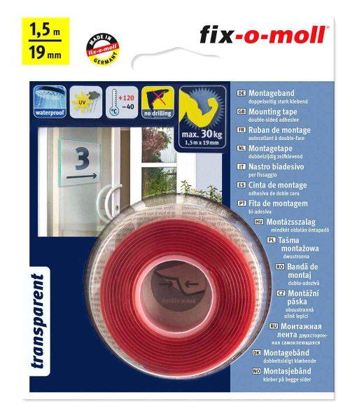ДВойнозалепващо тиксо ултраздраво до 30 кг прозрачно fix-o-moll